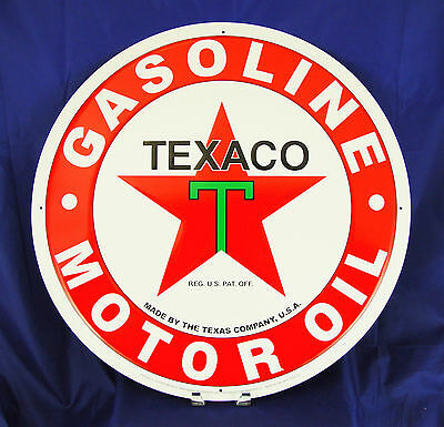 "Texaco Gasoline Motor Oil Garage Metal Tin Sign 24"" Vintage Decor Embossed Large"