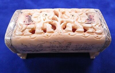 CHINESE HAND CARVED / ETCHED Bovine BONE NOT IVORY, CRICKET CAGE