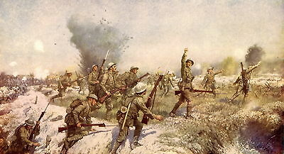 Antique Old Vintage Military Art Print WWI Battle of Somme Irish Soldier Ulster