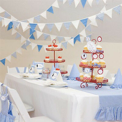 24 Flags 5.1m Cotton Banner Bunting Pennant Wedding Birthday Party Decor Blue