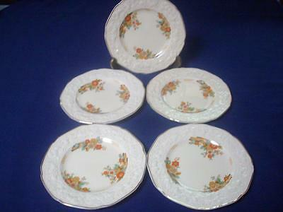 Crown Ducal Bread and Butter Plate Florentine 18cms Raised Embossed Floral Cream