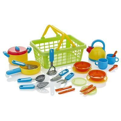 KiddyPlay Tea-set Cutlery Pans Childrens/Kids Pretend Play Kitchen Cooking Toy