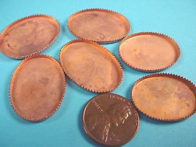 Vintage Copper Plated Steel Oval Bezel Cups 25x18