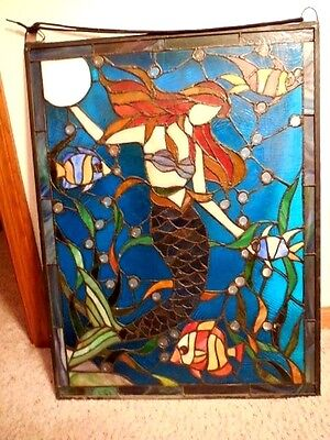 "Mermaid Oceanic Stained Glass Hanging, 19"" x 25"", Metal Frame/Hang, 70's Circa"