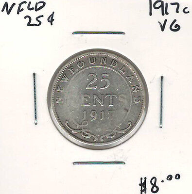 Canada Newfoundland NFLD 1917c 25 Cents VG