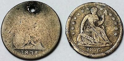 Lot of 2 1836 Capped Bust & 1856 Seated Half Dimes - 5 Cents Silver **SCARCE**