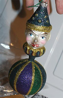 Larry Fraga large appro 6 inch mardi gras colorful ball ornament clown ?