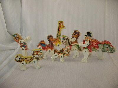 Vintage 1963 Fisher Price Junior Circus Animal Lot Elephant Tiger Clown Giraffe