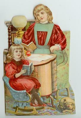 c1890s Lion Coffee die-cut trade card set - mother teaching child