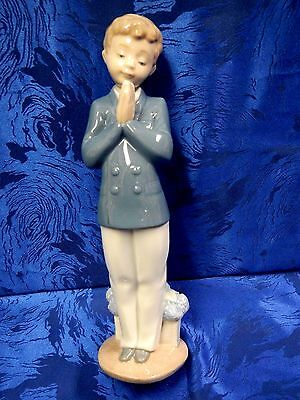 Time To Pray First Communion Boy Porcelain Figurine Nao By Lladro #1223