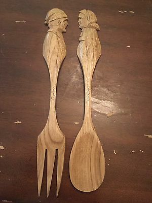Vintage Audet Quebec Canada Hand Carved Wood Man and Woman Fork and Spoon