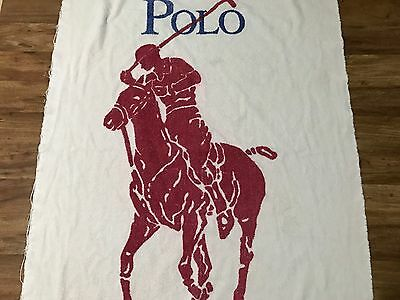 "Rare Vtg 90s Ralph Lauren Big Polo Pony Logo Distressed Towel 63.5"" X 35"" USA"
