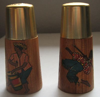 Vintage Caribbean Salt and Pepper Shaker Set West Indies St Lucia Wood Metal