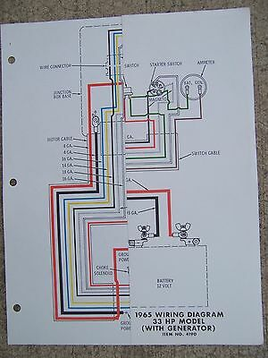 1965 JOHNSON SEA Horse 33 HP Model with Generator Outboard Wiring Diagram on