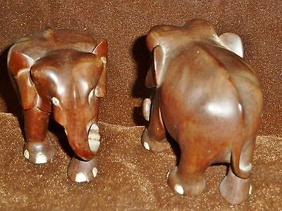lovely pair of solid mahogany carved elephants no tusks african animals woodwork