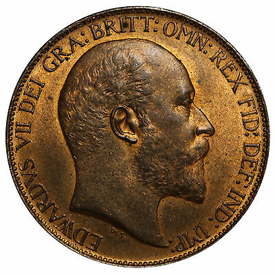 1902 UK Great Britain Half Penny Edward VII Coin KM# 793.2 High Sea Level aUNC