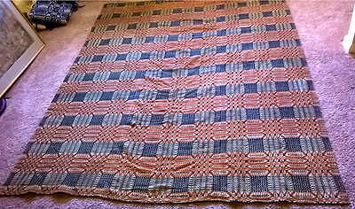 Antique Overshot Coverlet in Red and Blue -- 89 by 71 inches