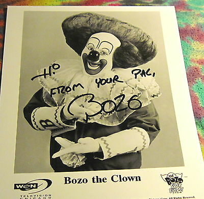 "Bozo The Clown - 90's Chicago's Version----- Signed 8"" X 10"" Photo Re ---  K @"