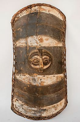 "Very Rare Vintage African Tribal Shield Carved Wood 31"" x 14"""