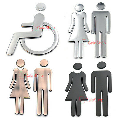 Restroom Bathroom Sign Adhesive Backed Men Women Handicap Toilet Public Signage