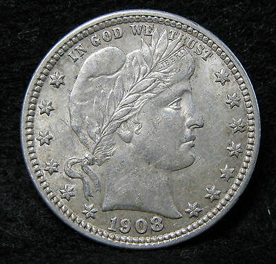 1908-D Barber Silver Quarter Choice Almost Uncirculated With Luster * US Coin *