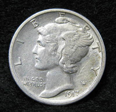 1917-S Mercury Silver Dime Almost Uncirculated+ Tough Early Date! * US Coin *
