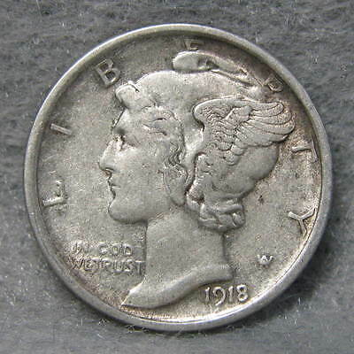 1918-D Mercury Silver Dime Almost Uncirculated  Rotated Reverse * US Coin *