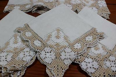 Antique or Vintage Linen Napkins - Crochet Filet Lace edge
