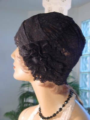 1920s HAT FLAPPER Cloche HAT LACE BLACK NICE FLEXIBLE FIT