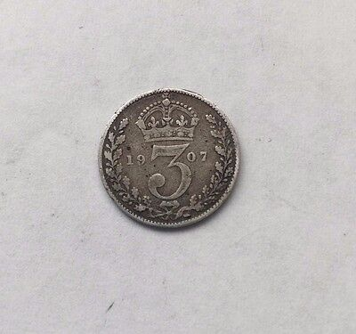 1907 King Edward VII Threepence 3d Silver 92.5% Coin Great Britain