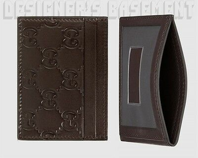 GUCCI chocolate GUCCISSIMA leather TRAIN PASS window Card Case NIB Authentc $195