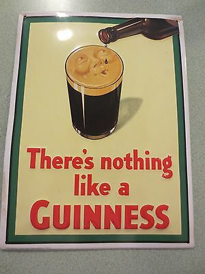 """Smiling Pint - There's nothing like a Guinness on Metal Sign 11.5"""" X 15.5"""" (1994"""