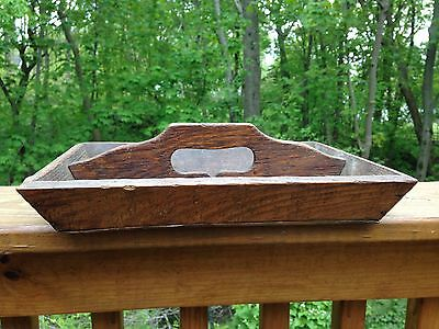 Antique Country Farm Primitive Wood Silverware Caddie Handled Two Part Tray Box
