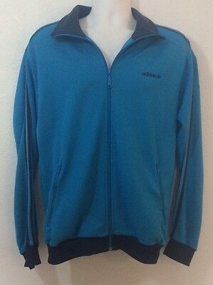 Vintage Adidas Track Style Jacket Peacock Blue & Navy Men's Large Retro  (A)