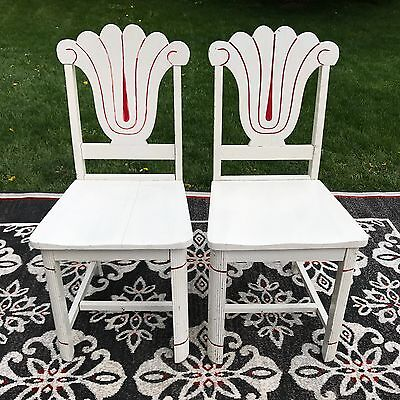 Shabby Painted Wood Chairs For Enamel Kitchen Farm Country Table Vintage Antique