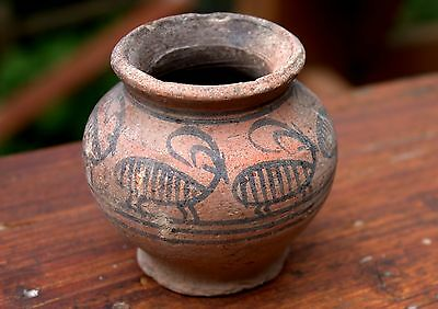 Authentic 3000 BC Artifact Painted Pottery Pot Bronze Age Artifact Time Of Moses