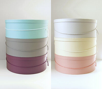 """Millinery HAT BOX ~ HATBOXES ~ 6 C0L0RS ~ 14•15•16•18"""" x 6""""-7"""" Deep ~ Stack of 4"""