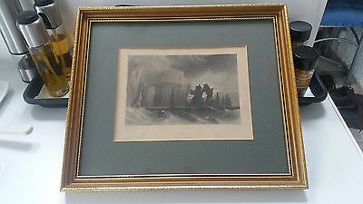 Antique print of engraving by W.H. Bartlett: Cape Wrath circa 1839. Framed.