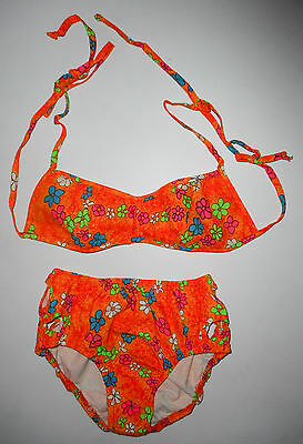 Vtg 60s 70s ORANGE FLORAL Swim Suit BIKINI * HIGH TIDE * Open Sides UNWORN : S/M