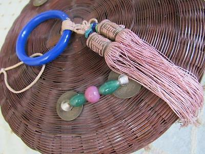 Antique Vtg VICTORIAN 1900s Chinese Sewing Basket PEKING Glass Beads Ring TASSEL