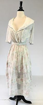 Antique Edwardian cotton day dress w/ floral print and tiered skirt crochet VGC