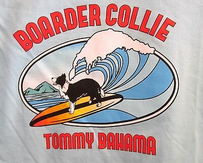 """Tommy Bahama  """"surfin Border Collie """" T-Shirt Brand New Large Blue Ice"""