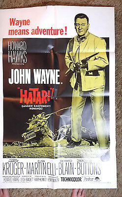 1967 Hatari Rerelease 1-Sheet Movie Poster-John Wayne- Folded (MHPO-024)