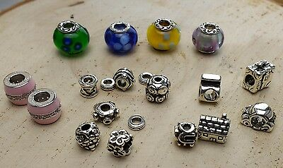 Mixed Lot Of Sterling Silver Charm Beads And Spacers