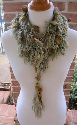 Pulled Silk Scarf Collar Memphis Designer Wearable Art Brown Gold & Silver Blue