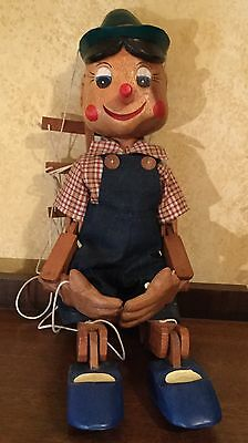 Handmade Carved Wooden Large Pinocchio Marionette Puppet Toy