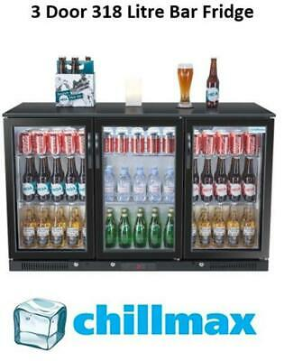 Chillmax Bar Beer Wine Fridge 3 Glass Door BLACK 318L Under Counter