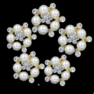 Crystal Rhinestone Silver Gold Pearl Flower Shank Buttons Costume Sewing Crafts