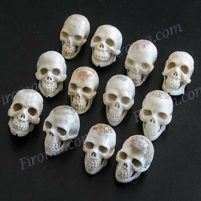 "12PCS LOT 7/8"" HAND CARVING DEER ANTLER SKULL BEAD CAB cabochon"