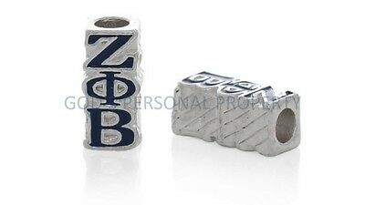 Zeta Phi Beta Spacer Bead Blue Enamel Diy Fits European Style Charm Bracelet